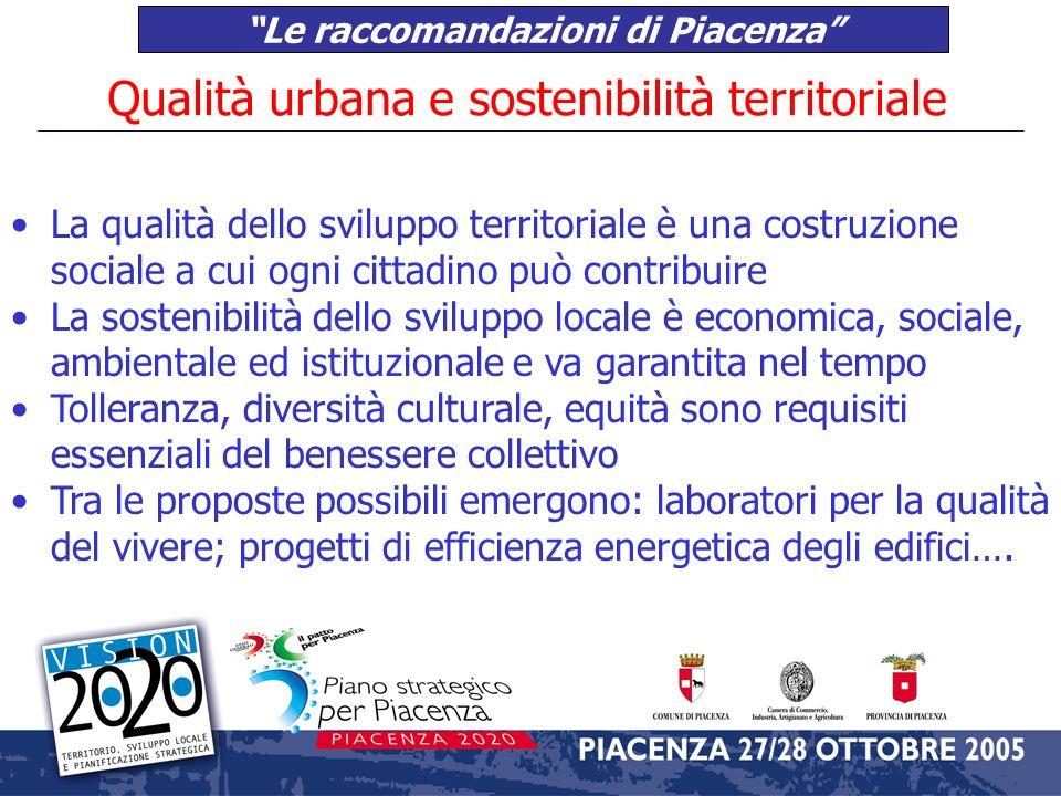 Le raccomandazioni di Piacenza Competitività, sistema produttivo e infrastrutture