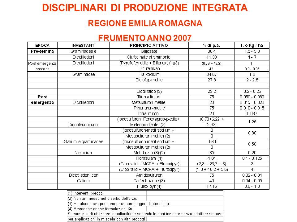DISCIPLINARI DI PRODUZIONE INTEGRATA REGIONE EMILIA ROMAGNA FRUMENTO ANNO 2007