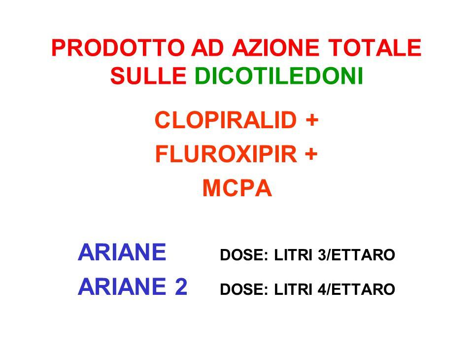 PRODOTTO AD AZIONE TOTALE SULLE DICOTILEDONI CLOPIRALID + FLUROXIPIR + MCPA ARIANE DOSE: LITRI 3/ETTARO ARIANE 2 DOSE: LITRI 4/ETTARO