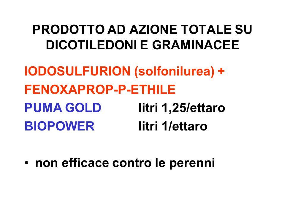 PRODOTTO AD AZIONE TOTALE SU DICOTILEDONI E GRAMINACEE IODOSULFURION (solfonilurea) + FENOXAPROP-P-ETHILE PUMA GOLDlitri 1,25/ettaro BIOPOWERlitri 1/e