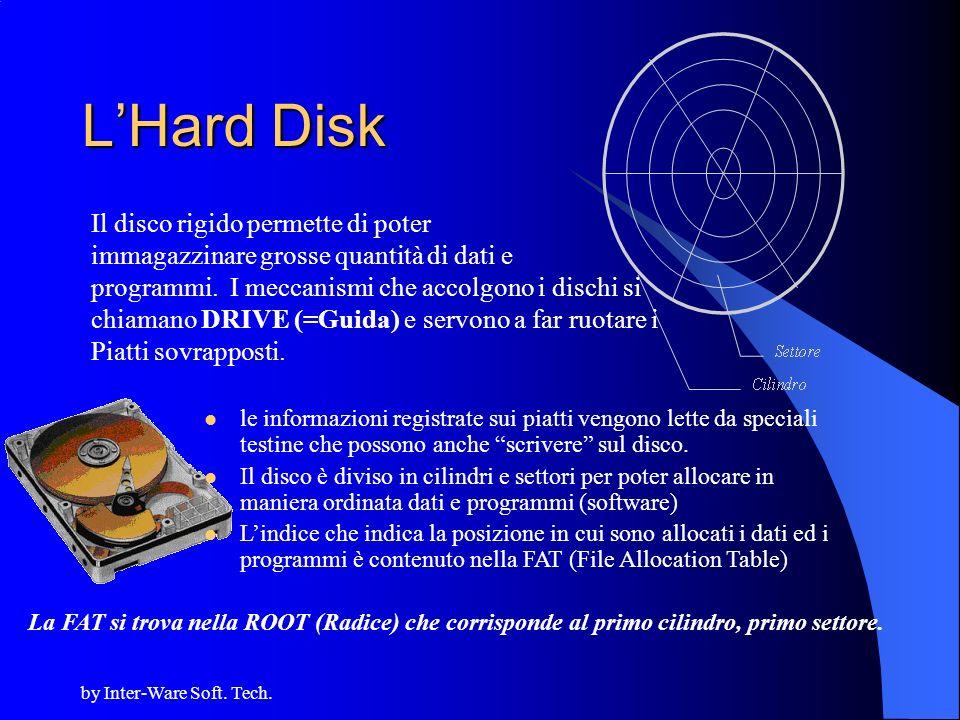 by Inter-Ware Soft. Tech. LHard Disk Il disco rigido permette di poter immagazzinare grosse quantità di dati e programmi. I meccanismi che accolgono i