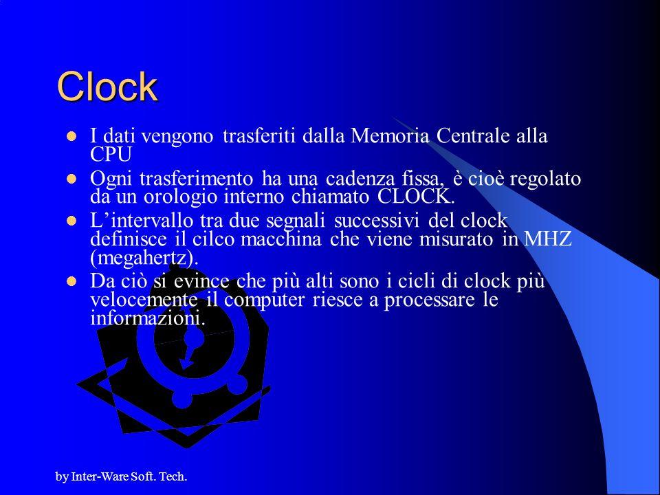 by Inter-Ware Soft. Tech. Clock I dati vengono trasferiti dalla Memoria Centrale alla CPU Ogni trasferimento ha una cadenza fissa, è cioè regolato da