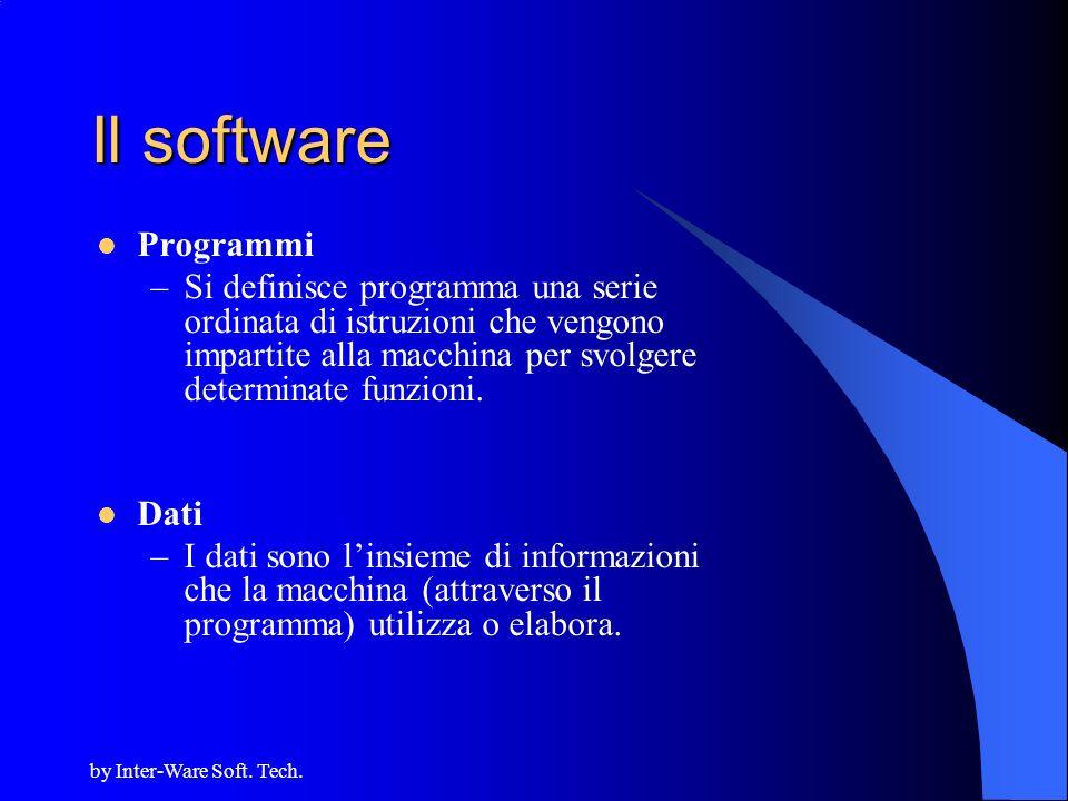 by Inter-Ware Soft. Tech. Il software Programmi –Si definisce programma una serie ordinata di istruzioni che vengono impartite alla macchina per svolg