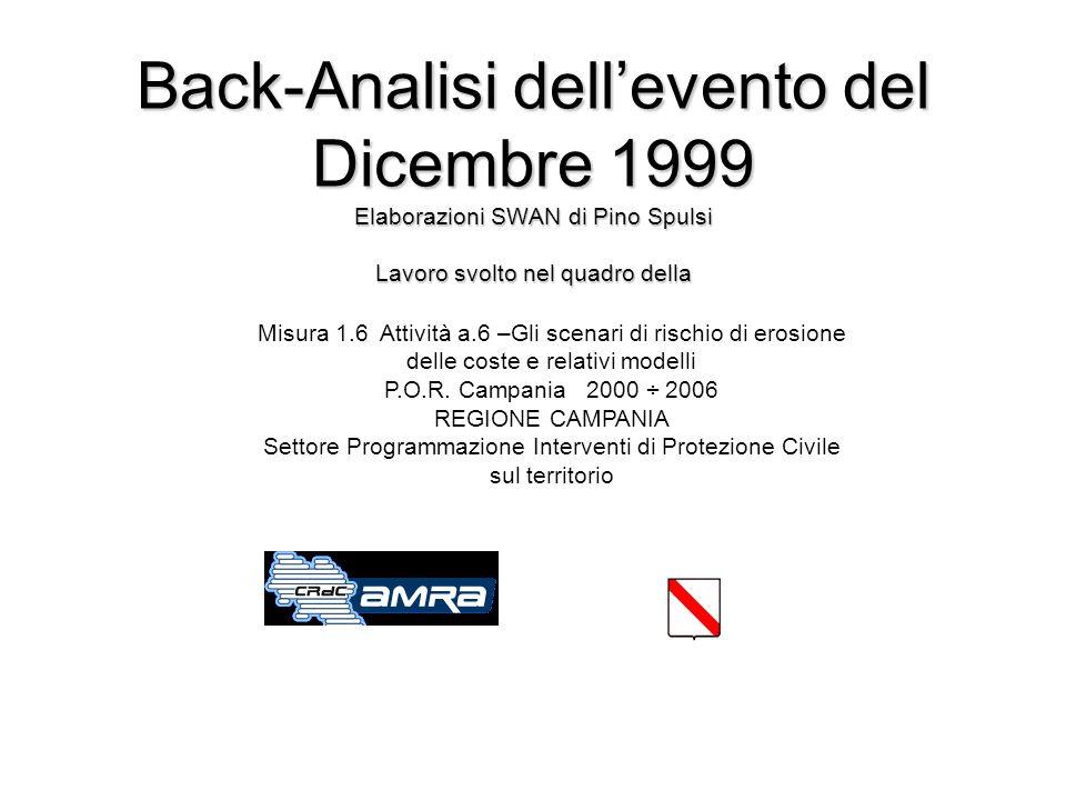 Rappresentazione vettoriale delle Hs alle ore 18.00 del 28/12/1999 ottenute dal codice SWAN per lArea piccola NG2 Salerno Pontecagnano