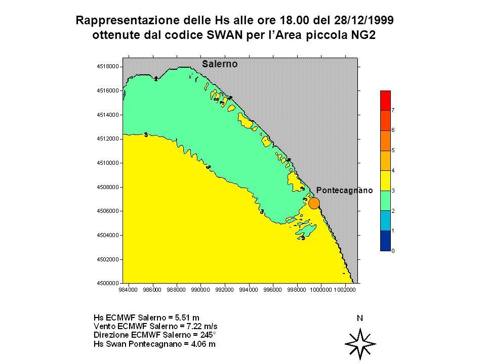 Rappresentazione delle Hs alle ore 18.00 del 28/12/1999 ottenute dal codice SWAN per lArea piccola NG2 Salerno Pontecagnano