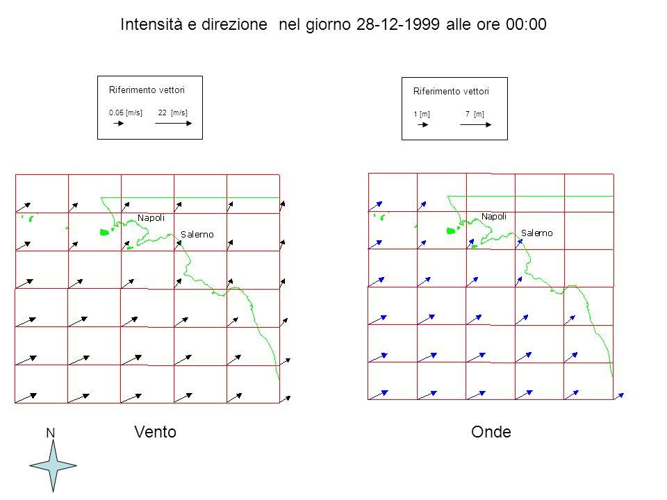 Rappresentazione delle Hs alle ore 00.00 del 29/12/1999 ottenute dal codice SWAN per lArea piccola NG2 Salerno Pontecagnano