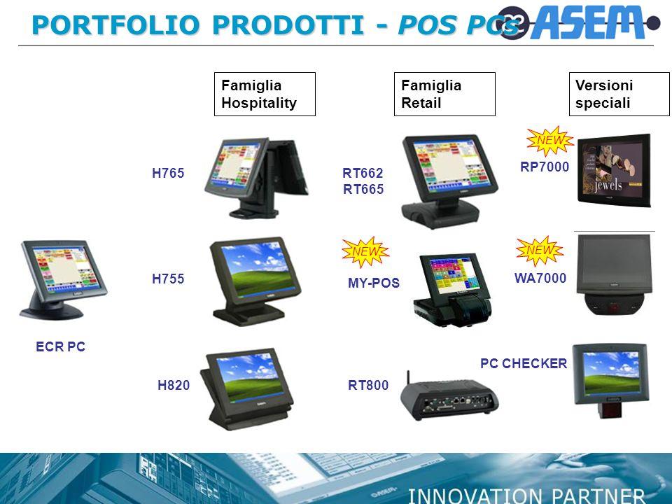 PORTFOLIO PRODOTTI - POS PCs ECR PC H765 Famiglia Hospitality Famiglia Retail H820 H755 RP7000 WA7000 RT662 RT800 RT665 PC CHECKER MY-POS Versioni speciali NEW