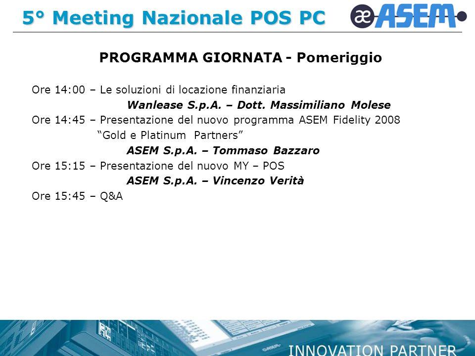 5° Meeting Nazionale POS PC PROGRAMMA GIORNATA - Pomeriggio Ore 14:00 – Le soluzioni di locazione finanziaria Wanlease S.p.A.
