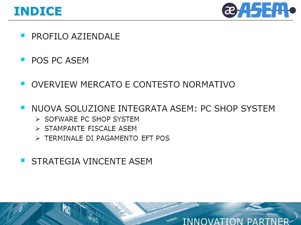 INDICE PROFILO AZIENDALE POS PC ASEM OVERVIEW MERCATO E CONTESTO NORMATIVO NUOVA SOLUZIONE INTEGRATA ASEM: PC SHOP SYSTEM SOFWARE PC SHOP SYSTEM STAMPANTE FISCALE ASEM TERMINALE DI PAGAMENTO EFT POS STRATEGIA VINCENTE ASEM
