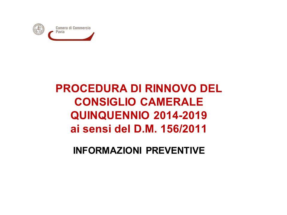 PROCEDURA DI RINNOVO DEL CONSIGLIO CAMERALE QUINQUENNIO 2014-2019 ai sensi del D.M. 156/2011 INFORMAZIONI PREVENTIVE