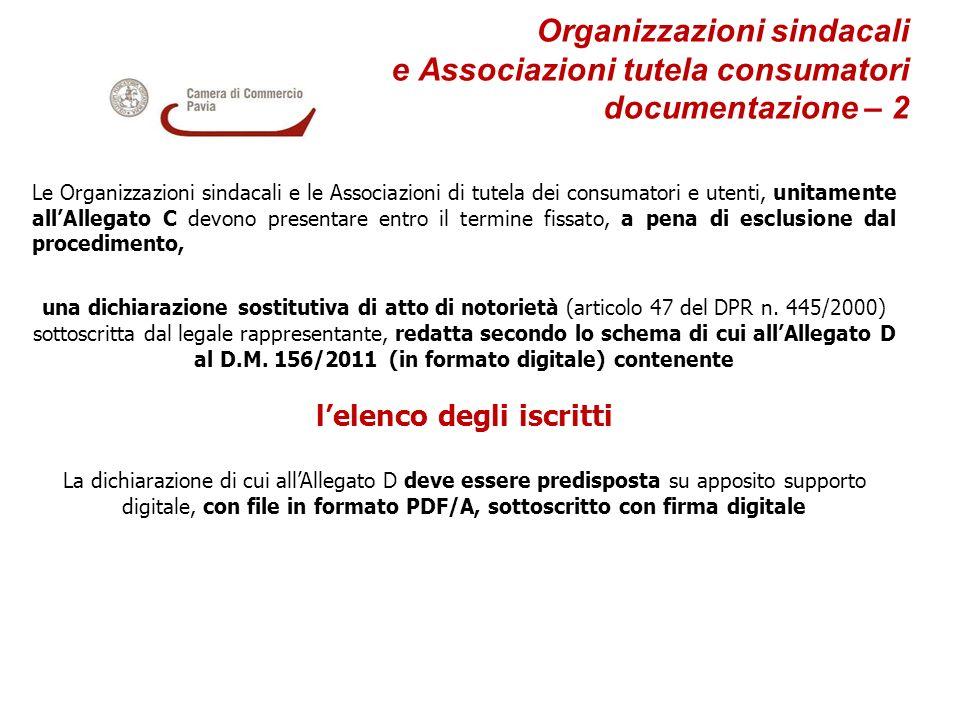 Organizzazioni sindacali e Associazioni tutela consumatori documentazione – 2 Le Organizzazioni sindacali e le Associazioni di tutela dei consumatori