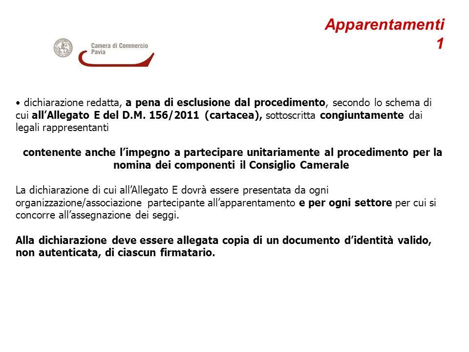 Apparentamenti 1 dichiarazione redatta, a pena di esclusione dal procedimento, secondo lo schema di cui allAllegato E del D.M. 156/2011 (cartacea), so