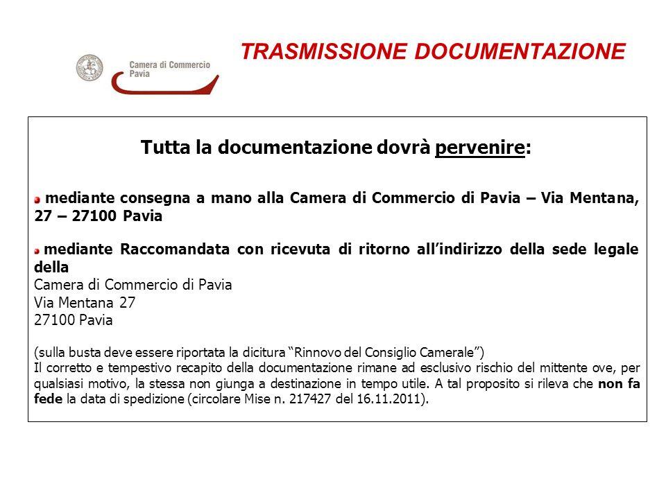 TRASMISSIONE DOCUMENTAZIONE Tutta la documentazione dovrà pervenire: mediante consegna a mano alla Camera di Commercio di Pavia – Via Mentana, 27 – 27
