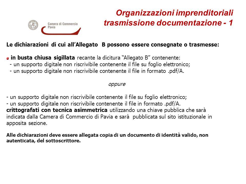 Organizzazioni imprenditoriali trasmissione documentazione - 1 Le dichiarazioni di cui allAllegato B possono essere consegnate o trasmesse: in busta c