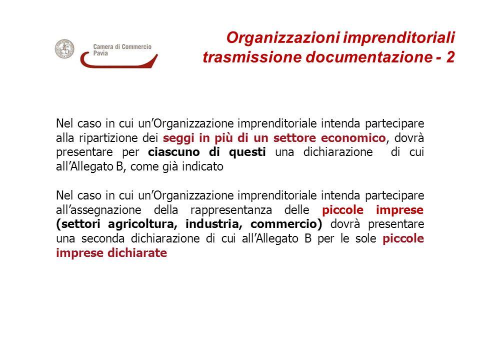 Organizzazioni imprenditoriali trasmissione documentazione - 2 Nel caso in cui unOrganizzazione imprenditoriale intenda partecipare alla ripartizione