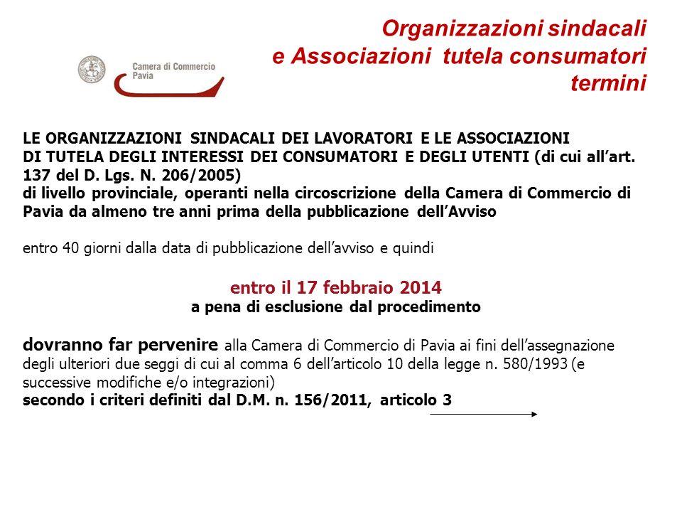 Organizzazioni sindacali e Associazioni tutela consumatori termini LE ORGANIZZAZIONI SINDACALI DEI LAVORATORI E LE ASSOCIAZIONI DI TUTELA DEGLI INTERE