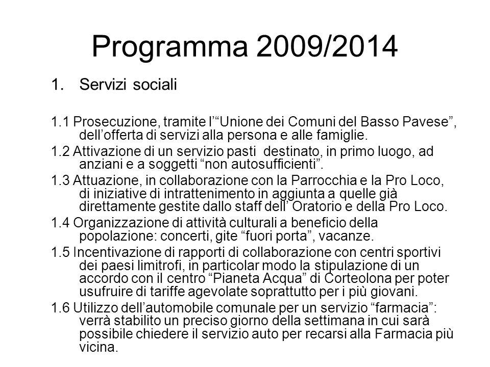 Programma 2009/2014 1.Servizi sociali 1.1 Prosecuzione, tramite lUnione dei Comuni del Basso Pavese, dellofferta di servizi alla persona e alle famiglie.