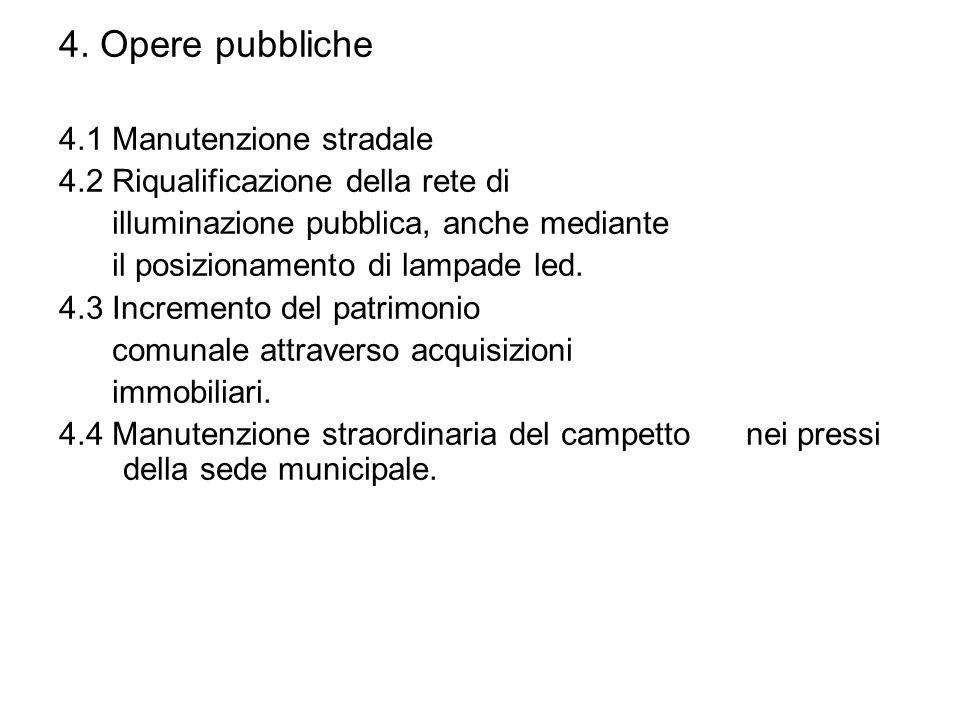 4. Opere pubbliche 4.1 Manutenzione stradale 4.2 Riqualificazione della rete di illuminazione pubblica, anche mediante il posizionamento di lampade le