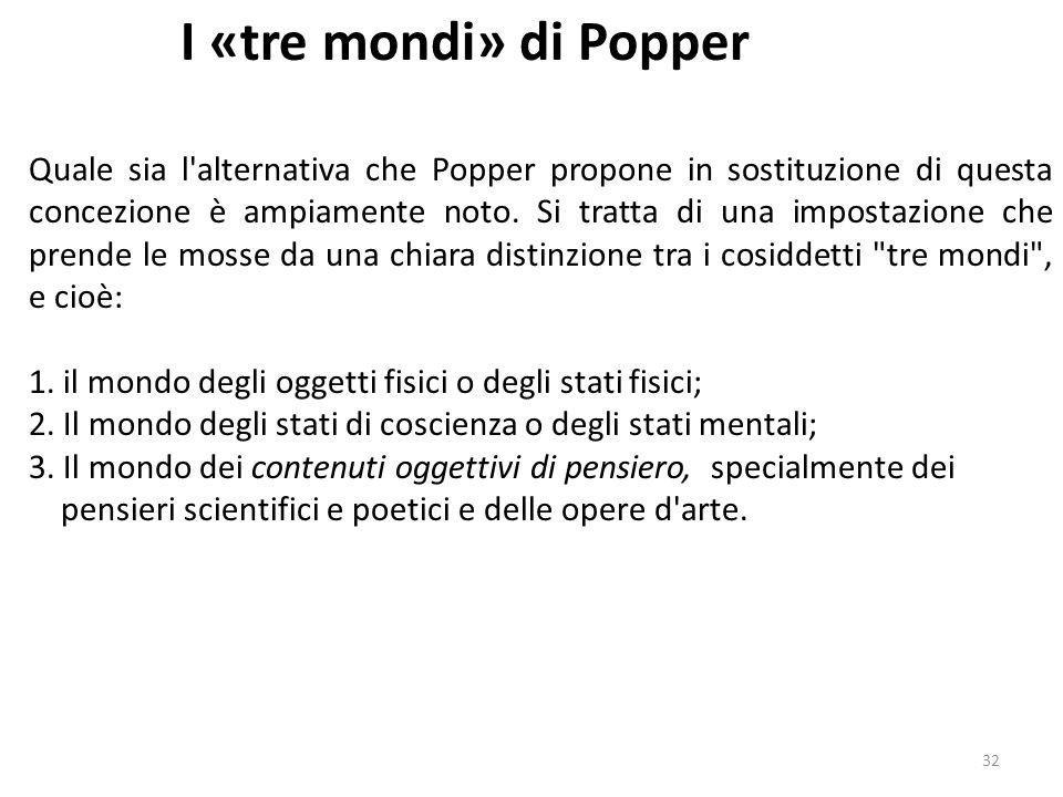 31 I «tre mondi» di Popper Nei saggi raccolti in Conoscenza oggettiva, e in particolare in Epistemologia senza soggetto conoscente, Popper critica in