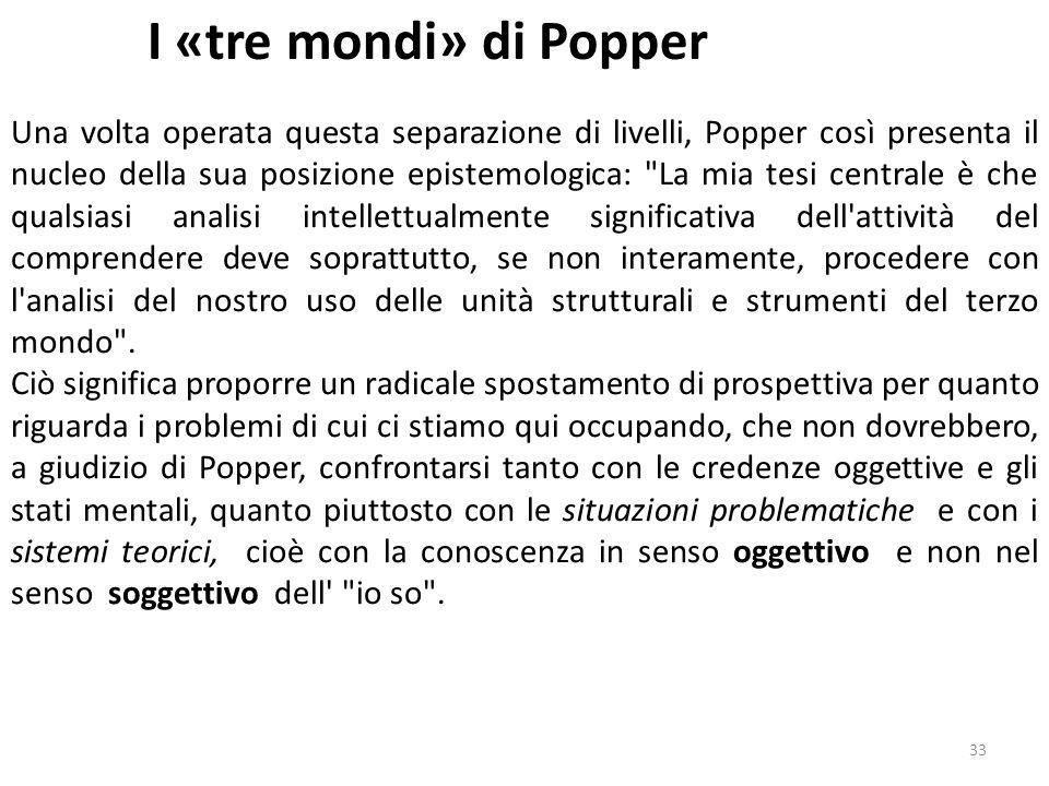 32 I «tre mondi» di Popper Quale sia l alternativa che Popper propone in sostituzione di questa concezione è ampiamente noto.