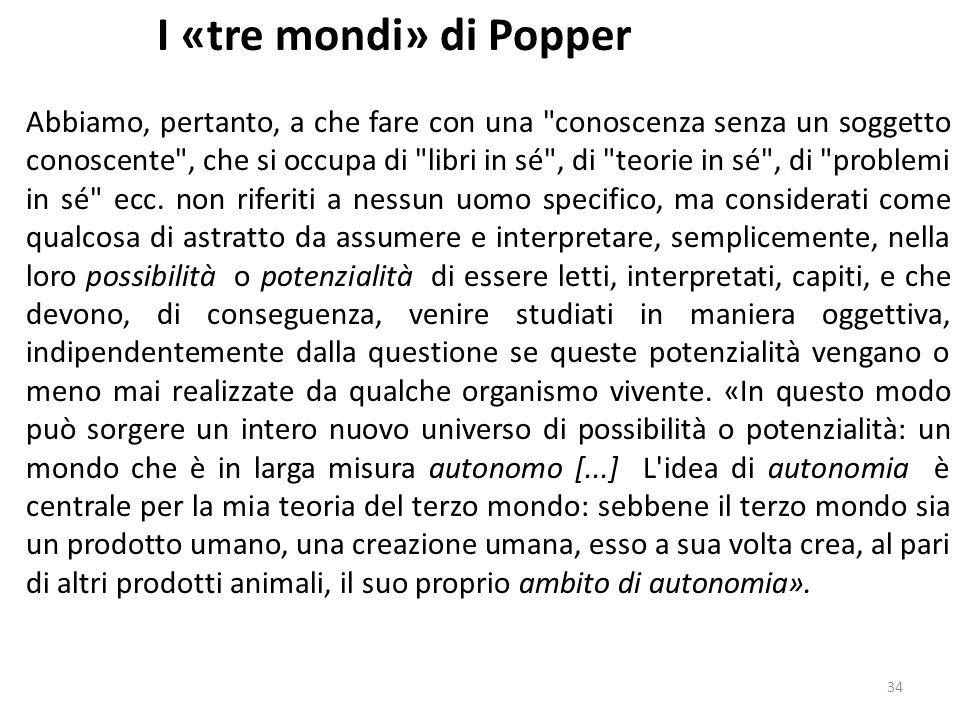 33 I «tre mondi» di Popper Una volta operata questa separazione di livelli, Popper così presenta il nucleo della sua posizione epistemologica: