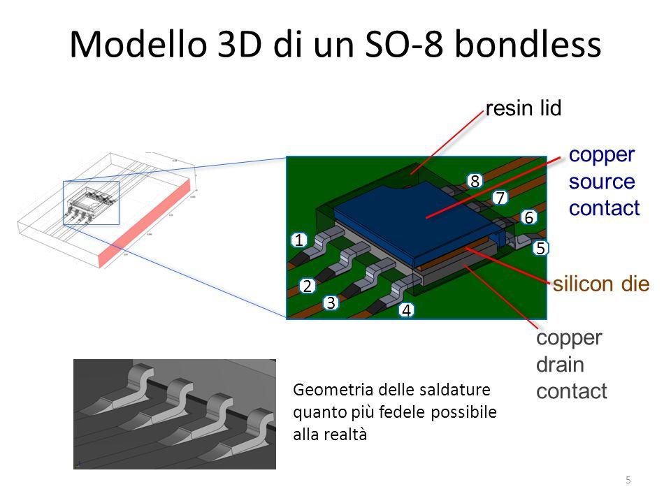 Modello 3D di un SO-8 bondless copper drain contact copper source contact silicon die 1 2 3 4 5 6 7 8 resin lid Geometria delle saldature quanto più fedele possibile alla realtà 5