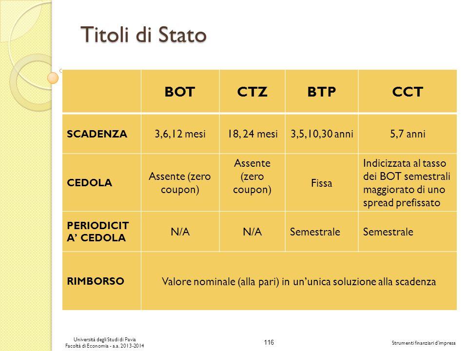 116 Università degli Studi di Pavia Facoltà di Economia - a.a. 2013-2014 Strumenti finanziari dimpresa Titoli di Stato BOTCTZBTPCCT SCADENZA 3,6,12 me