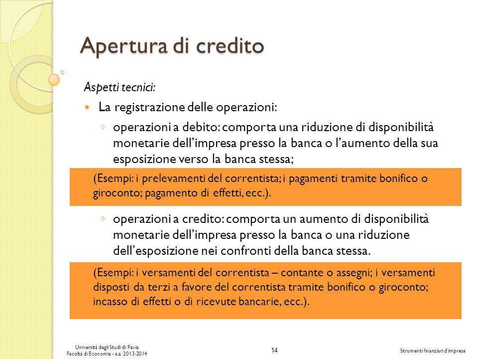 14 Università degli Studi di Pavia Facoltà di Economia - a.a. 2013-2014 Strumenti finanziari dimpresa Apertura di credito Aspetti tecnici: La registra