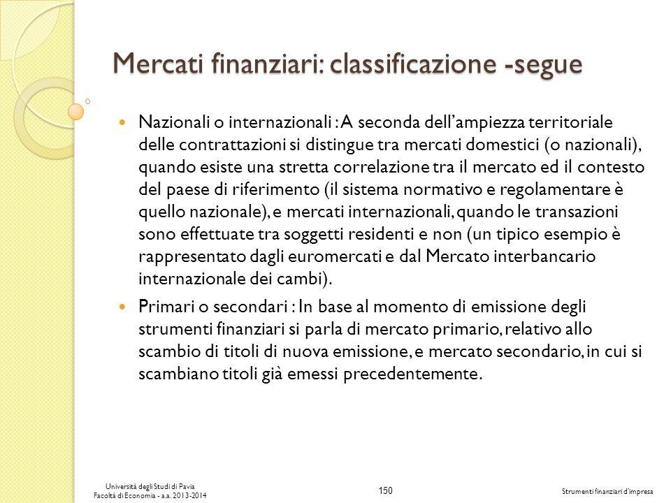150 Università degli Studi di Pavia Facoltà di Economia - a.a. 2013-2014 Strumenti finanziari dimpresa Mercati finanziari: classificazione -segue Nazi