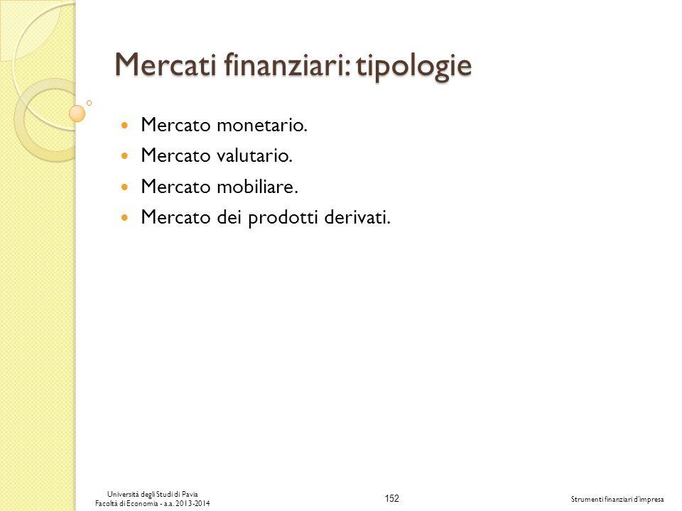 152 Università degli Studi di Pavia Facoltà di Economia - a.a. 2013-2014 Strumenti finanziari dimpresa Mercati finanziari: tipologie Mercato monetario
