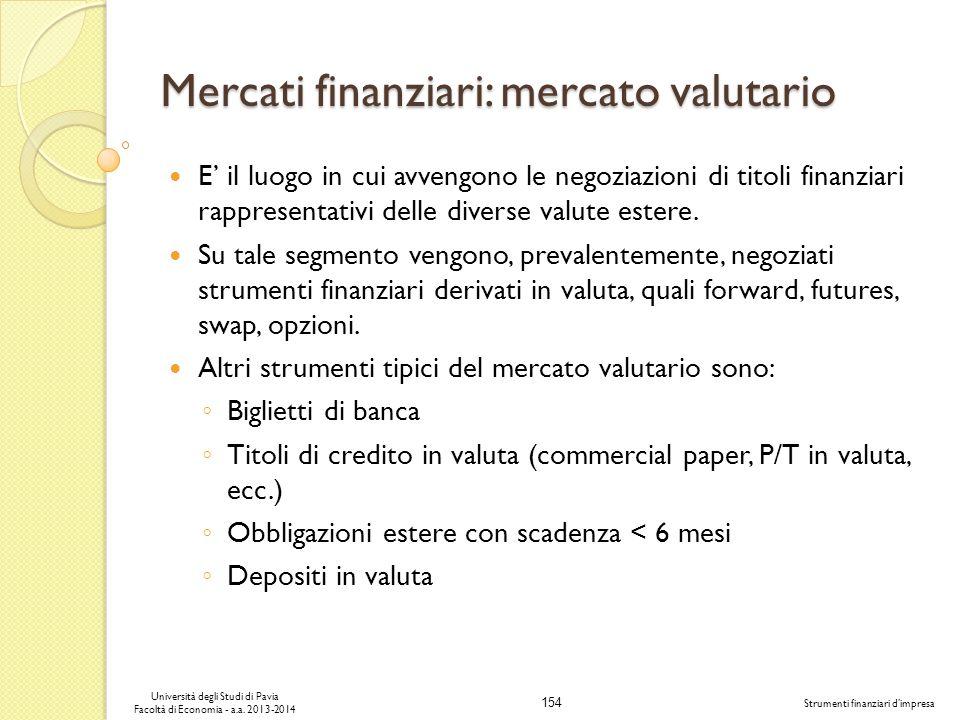 154 Università degli Studi di Pavia Facoltà di Economia - a.a. 2013-2014 Strumenti finanziari dimpresa Mercati finanziari: mercato valutario E il luog