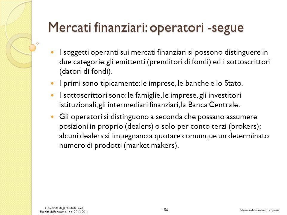 164 Università degli Studi di Pavia Facoltà di Economia - a.a. 2013-2014 Strumenti finanziari dimpresa Mercati finanziari: operatori -segue I soggetti