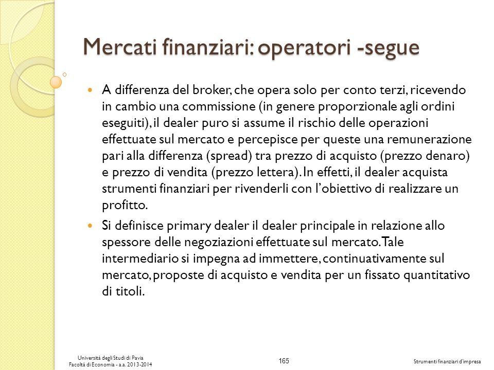 165 Università degli Studi di Pavia Facoltà di Economia - a.a. 2013-2014 Strumenti finanziari dimpresa Mercati finanziari: operatori -segue A differen