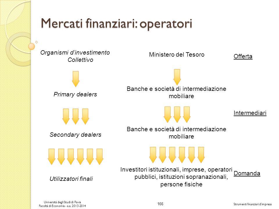 166 Università degli Studi di Pavia Facoltà di Economia - a.a. 2013-2014 Strumenti finanziari dimpresa Mercati finanziari: operatori Investitori istit