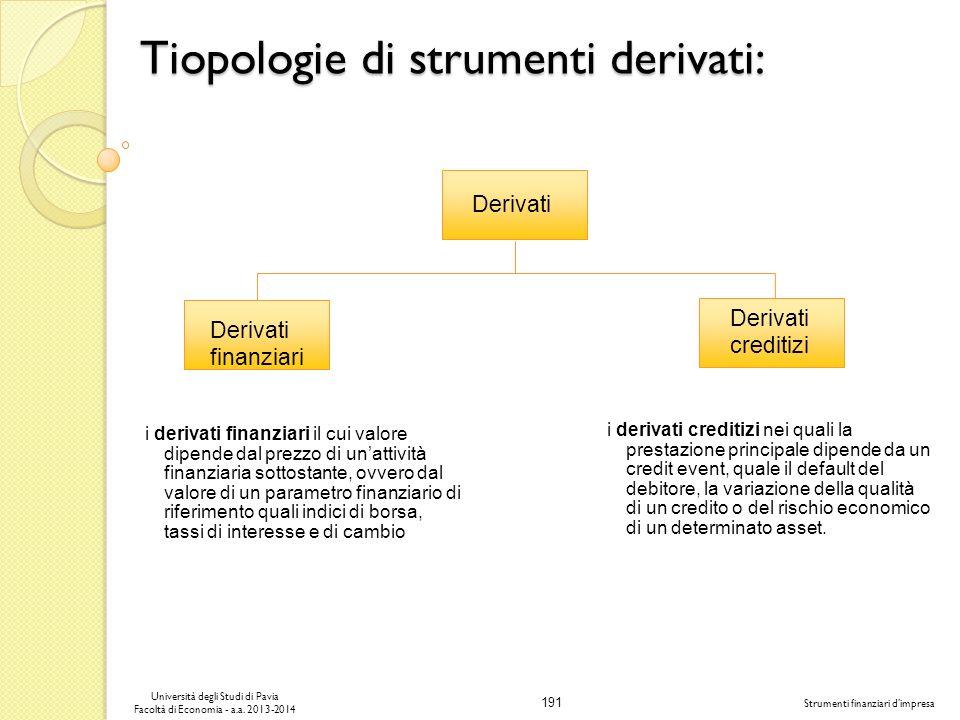 191 Università degli Studi di Pavia Facoltà di Economia - a.a. 2013-2014 Strumenti finanziari dimpresa Tiopologie di strumenti derivati: Derivati fina