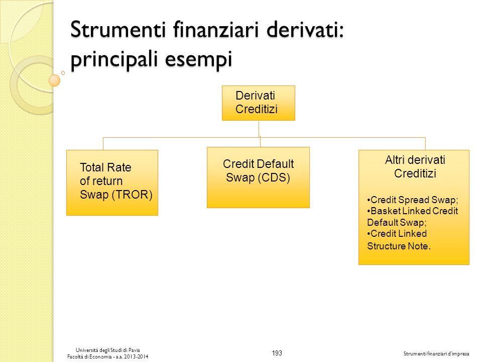 193 Università degli Studi di Pavia Facoltà di Economia - a.a. 2013-2014 Strumenti finanziari dimpresa Strumenti finanziari derivati: principali esemp