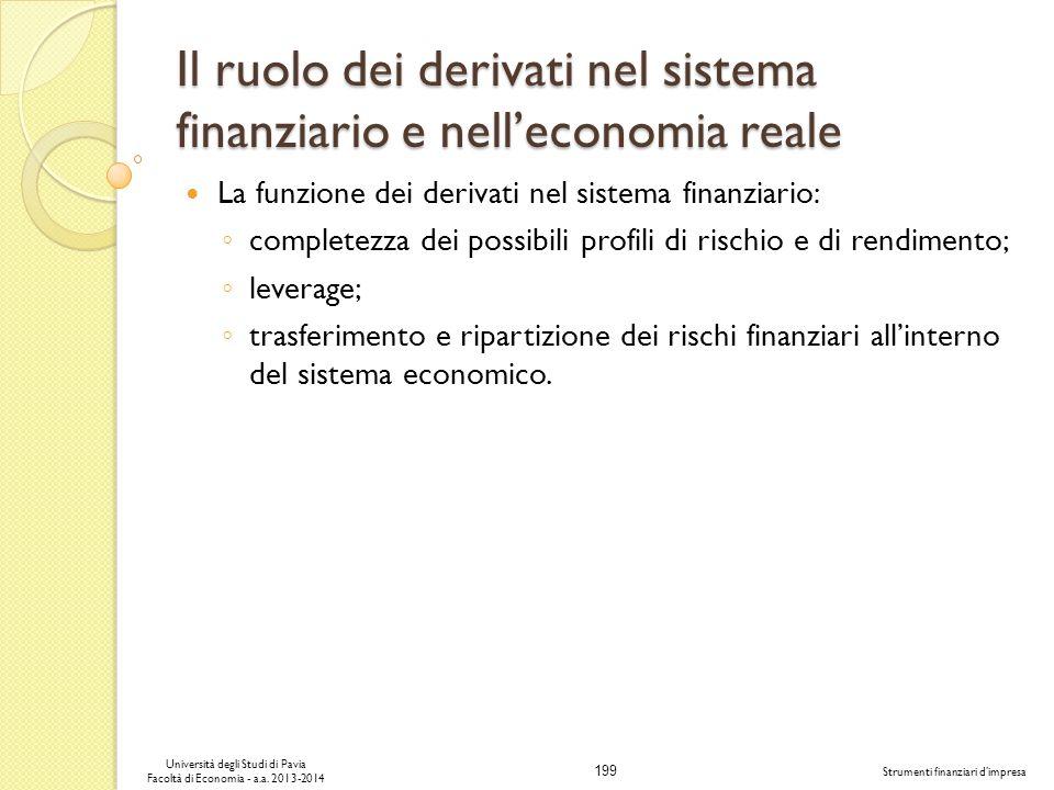 199 Università degli Studi di Pavia Facoltà di Economia - a.a. 2013-2014 Strumenti finanziari dimpresa Il ruolo dei derivati nel sistema finanziario e
