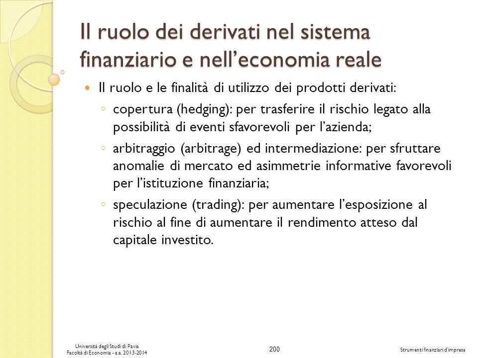 200 Università degli Studi di Pavia Facoltà di Economia - a.a. 2013-2014 Strumenti finanziari dimpresa Il ruolo dei derivati nel sistema finanziario e