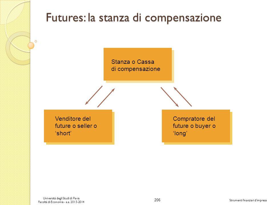 206 Università degli Studi di Pavia Facoltà di Economia - a.a. 2013-2014 Strumenti finanziari dimpresa Futures: la stanza di compensazione Stanza o Ca
