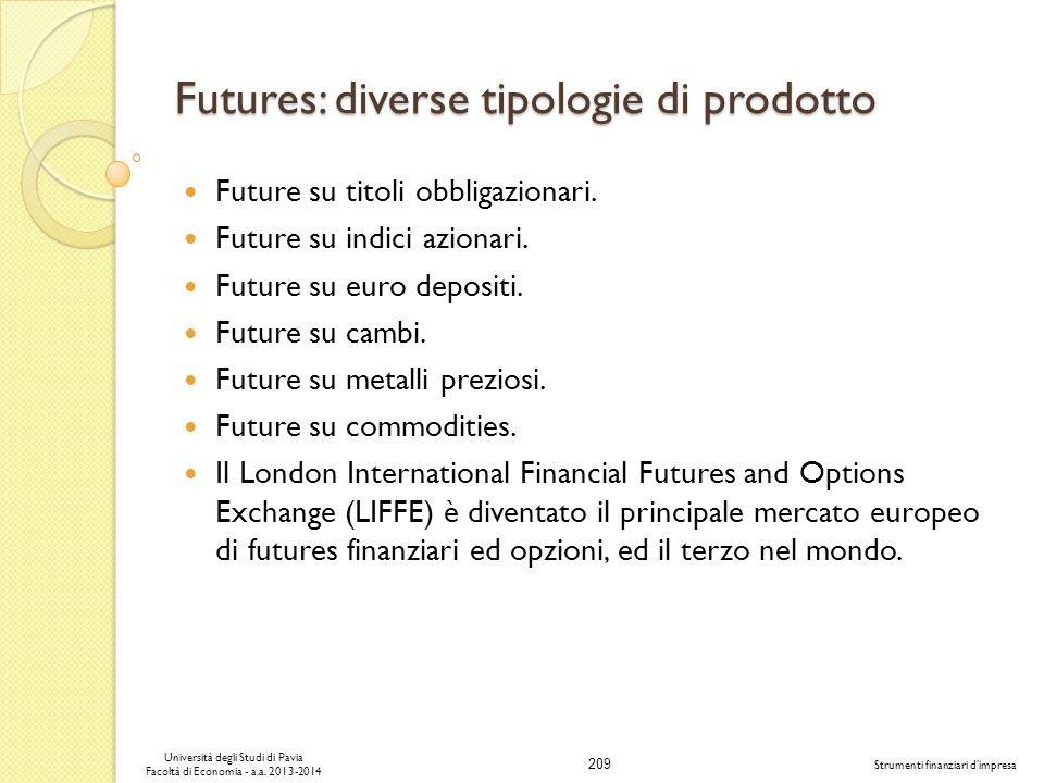 209 Università degli Studi di Pavia Facoltà di Economia - a.a. 2013-2014 Strumenti finanziari dimpresa Futures: diverse tipologie di prodotto Future s