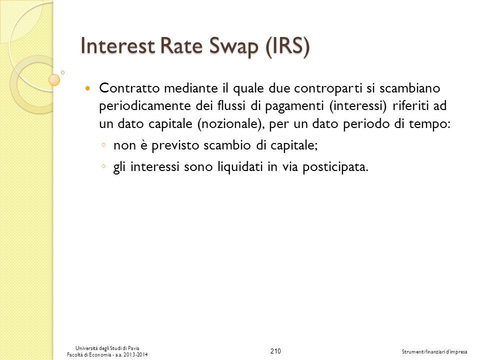 210 Università degli Studi di Pavia Facoltà di Economia - a.a. 2013-2014 Strumenti finanziari dimpresa Interest Rate Swap (IRS) Contratto mediante il