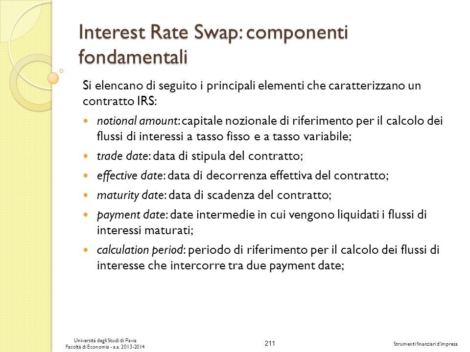 211 Università degli Studi di Pavia Facoltà di Economia - a.a. 2013-2014 Strumenti finanziari dimpresa Interest Rate Swap: componenti fondamentali Si