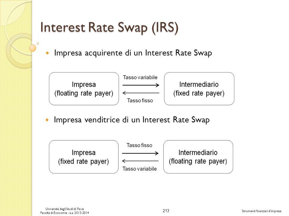 213 Università degli Studi di Pavia Facoltà di Economia - a.a. 2013-2014 Strumenti finanziari dimpresa Interest Rate Swap (IRS) Impresa acquirente di