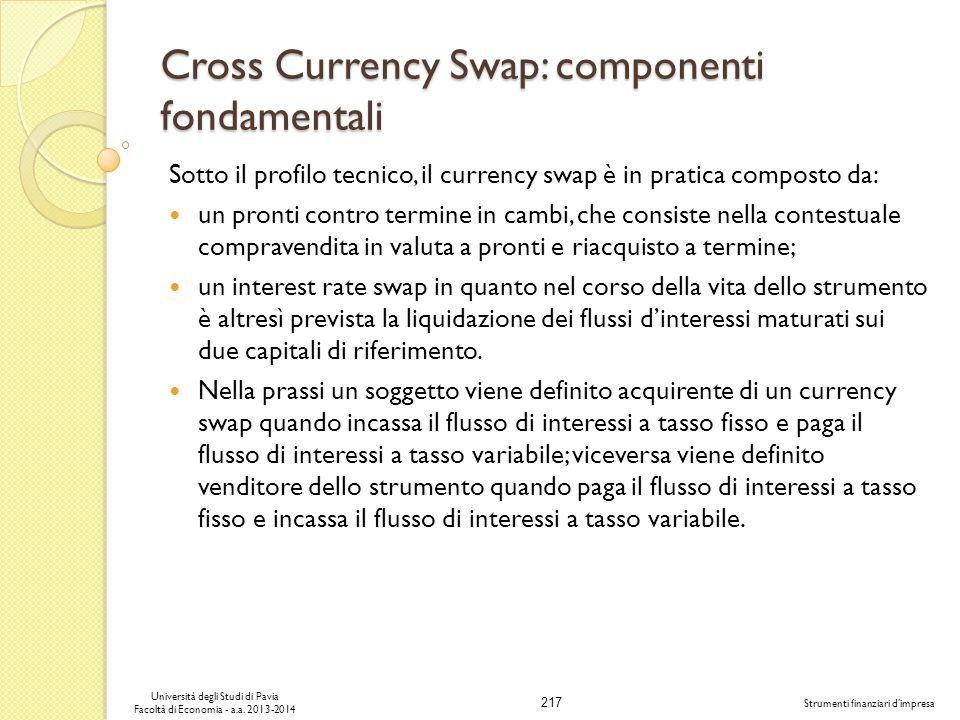 217 Università degli Studi di Pavia Facoltà di Economia - a.a. 2013-2014 Strumenti finanziari dimpresa Cross Currency Swap: componenti fondamentali So
