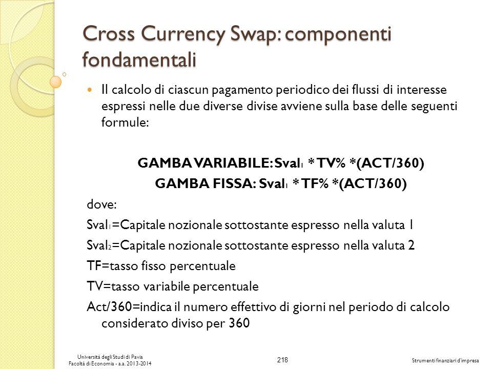 218 Università degli Studi di Pavia Facoltà di Economia - a.a. 2013-2014 Strumenti finanziari dimpresa Cross Currency Swap: componenti fondamentali Il