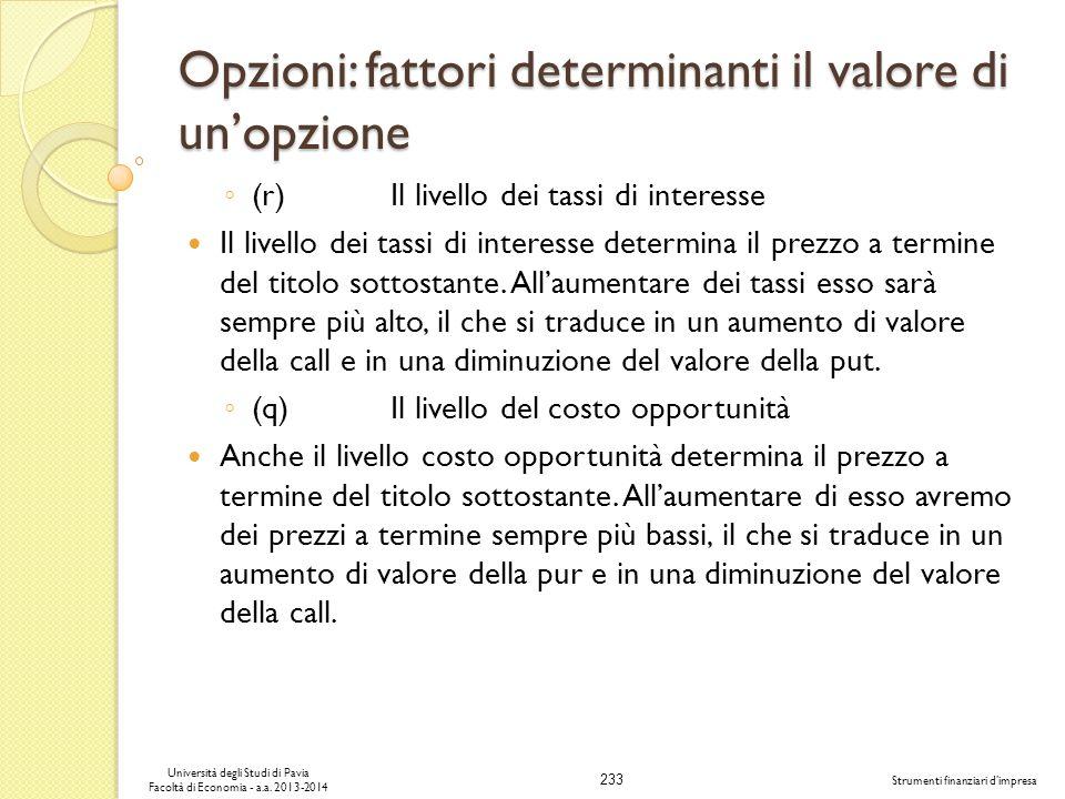 233 Università degli Studi di Pavia Facoltà di Economia - a.a. 2013-2014 Strumenti finanziari dimpresa Opzioni: fattori determinanti il valore di unop