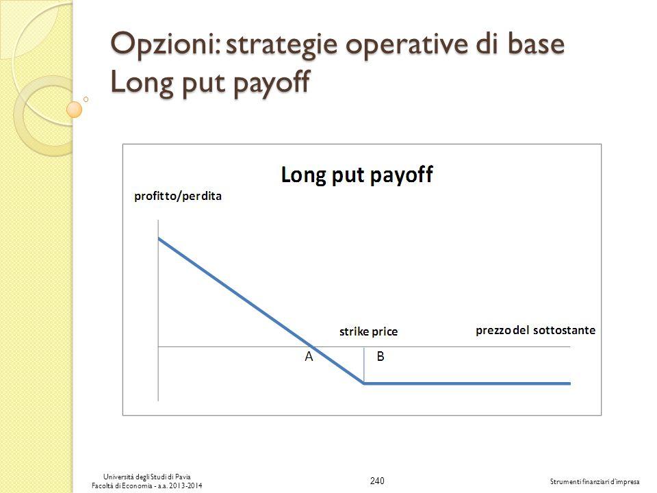 240 Università degli Studi di Pavia Facoltà di Economia - a.a. 2013-2014 Strumenti finanziari dimpresa Opzioni: strategie operative di base Long put p