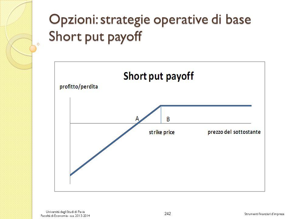 242 Università degli Studi di Pavia Facoltà di Economia - a.a. 2013-2014 Strumenti finanziari dimpresa Opzioni: strategie operative di base Short put