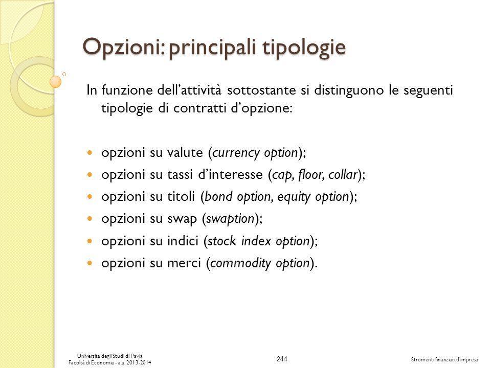 244 Università degli Studi di Pavia Facoltà di Economia - a.a. 2013-2014 Strumenti finanziari dimpresa Opzioni: principali tipologie In funzione della