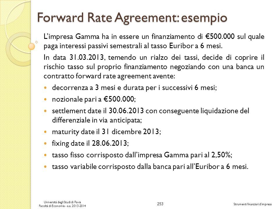 253 Università degli Studi di Pavia Facoltà di Economia - a.a. 2013-2014 Strumenti finanziari dimpresa Forward Rate Agreement: esempio Limpresa Gamma
